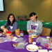 Danielle McMahon Osborn and Nicole McCarthy making sandwiches for St. Leo's Food Connection. Students made 806 PB&J sandwiches in total, with McCarthy being the breakout star—she made over 100 by herself!