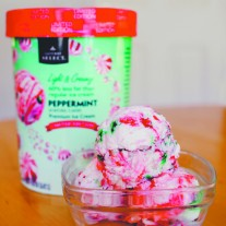 Safeway's limited edition peppermint flavor includes tiny pieces of crushed peppermint candy, perfectly contrasting its airy consistency. Photo By Allison Pham