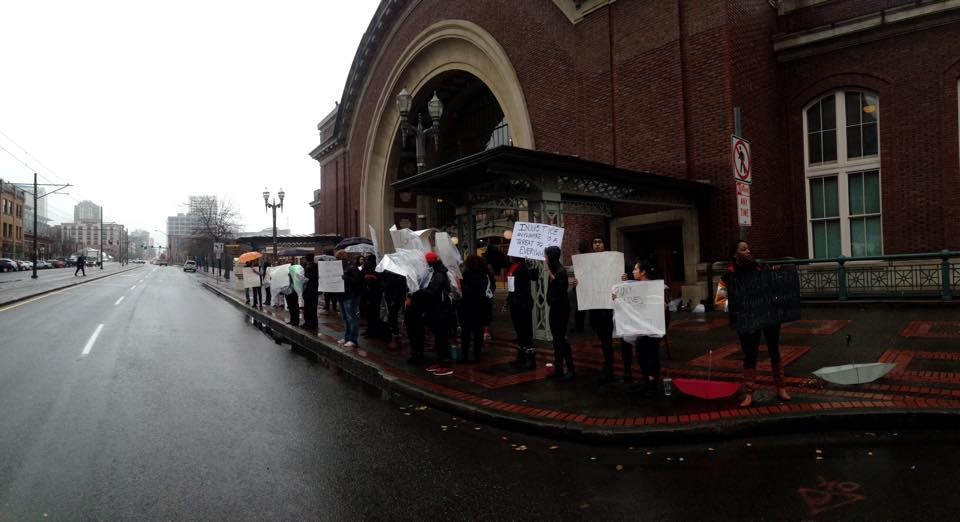 BSU organized a protest Tuesday morning in front of Union Station on Pacific Ave(3)