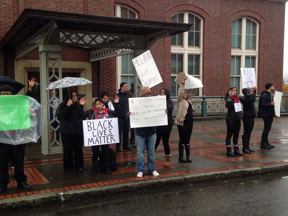 BSU organized a protest Tuesday morning in front of Union Station on Pacific Ave(4)