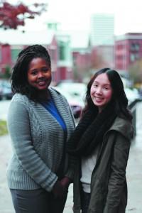 Anna Huynh (left)- SAB family program coordinator & Schynequa Mathis (right)- local service coordinator. Photo By Allison Pham