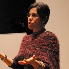 Dr Ingrid Walker leads a discussion after a viewing of Ivory Tower at Carwein Auditorium  Photo by Zach Curtis