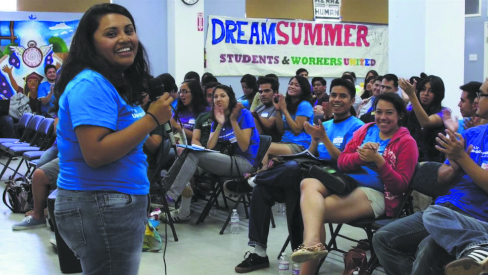 (Above) A scene from Love and Solidarity in which Dream Act students at a  conference discuss immigration rights. COURTESY OF DR. MICHAEL HONEY