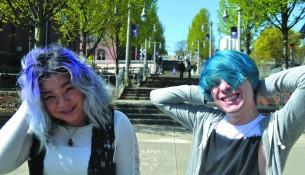 Karana Kem (left) and Zakari Pelland (right) showing off their stylish hair. photo by Molly Reetz